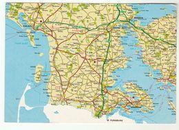 Postcard  MAP DENMARK ESBJERB KOLDING FREDERICIA ABENRA - Denemarken