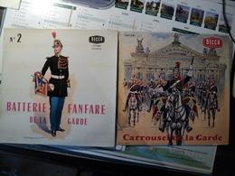 FANFARE DE LA GARDE REPUBLICAINE. LOT DE DEUX 33 TOURS. 1962 / ANNEES 60. EDMOND LAJOUX POCHETTES ILUSTREES PAR EDMOND - Vinyles