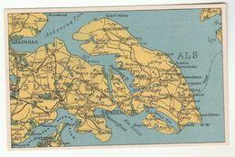 Old Postcard MAP DENMARK ALS ISLAND SONDERBORG NORDBORG AABENRAA - Denmark