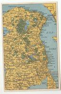 Old Postcard MAP DENMARK HELSINGOR COPENHAGEN GILLELEJE HILLEROD - Danemark