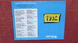 CALENDRIER DE POCHE SERAP 1992 - Calendriers