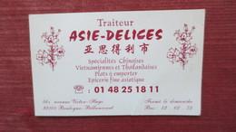 TRAITEUR ASIE DELICES BOULOGNE BILLANCOURT - Visiting Cards