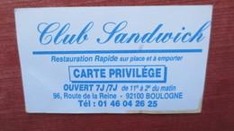 CLUB SANDWICH BOULOGNE BILLANCOURT 92 - Visiting Cards