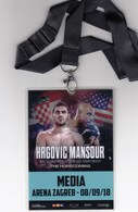 Croatia Zagreb 2018 / Boxing / Hrgovic - Mansour / WBC Int. Heavyweight Championship / Media / Accreditation - Habillement, Souvenirs & Autres