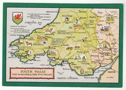 MAP Of SOUTH WALES Postcard Carmarthen Brecon Swansea Cardigan Bay Fishguard Corgi Dog Castle Church - Carmarthenshire