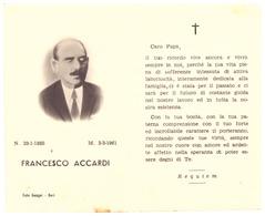 CARTE MORTUAIRE  FRANCESCO ACCARDI  1885  1961   ITALIE - Faire-part
