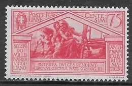 Italia Italy 1930 Regno Virgilio C75 Sa N.287 Nuovo MH * - 1900-44 Victor Emmanuel III