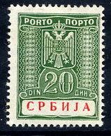 SERBIA (German Occ.) 1942 Postage Due 20 D.LHM / *.  Michel Porto 15 - Occupation 1938-45
