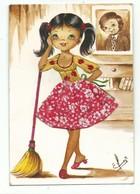 Carte Brodée Fillette Petite Ménagère Type Fée Du Logis Balai - Illustrateur Elsi - Peu Courrante. Ecrite Ed Vacances - Brodées