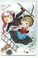 Carte Brodée En Savoie Couple Ski Ramoneur Elsi Costume Folklorique Des Provinces De France. - Brodées