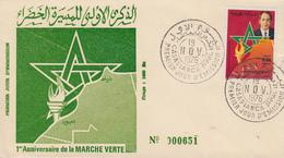 Enveloppe  FDC  1er  Jour   MAROC    1er  Anniversaire   De  La   Marche  Verte    1976 - Maroc (1956-...)
