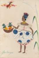 """CP - Martinique - Carte A Système - Tissu Et Broderie - Peinture à La Main - """"Antilles Soleil"""" - Autres"""