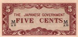 MALAYA JAPANESE GOV,=N/D   5  CENTS    P-M-2B   UNC - Billets