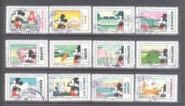 France Autoadhésifs Oblitérés N°1582 à 1593 (Série Complète : Mickey Et La France) (cachet Rond) - France