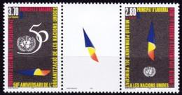 Andorra, Fra., 1995, Michel : 485/86, 50 Jahre Vereinte Nationen (UNO). MNH ** - Andorre Français