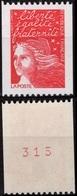 FRANCE 3084d ** MNH Type Marianne De Luquet Numéro N° Rouge Au Dos 380 Roulette - Coil Stamps