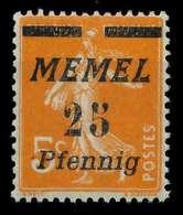 MEMEL 1922 Nr 58 Postfrisch X887972 - Memel (Klaïpeda)