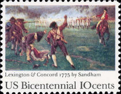 1975 USA American Bicentennial Lexington-Concord Stamp #1563 Painting History Revolutionary War Horse Fencing Martial - Other