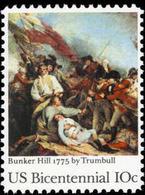 1975 USA American Bicentennial Bunker Hill Stamp #1564 Painting History Revolutionary War Martial - Celebrations