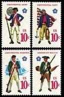 1975 USA American Bicentennial Military Uniforms Stamps #1565-68 Flag Gun Musket Ship Powder Horn Costume Martial - Celebrations