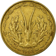 Monnaie, West African States, 5 Francs, 1968, TTB, Aluminum-Nickel-Bronze, KM:2a - Ivory Coast