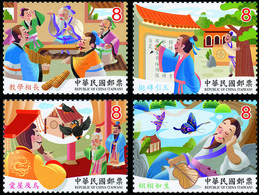 2019 Chinese Idiom Stories Stamps Fairy Tale Raven Crow Bird Butterfly Jade Teacher Student Fan Dragon Famous - Famous People