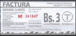 Bolivia 2019 Boleto Del Teleferico (moderno Aerocarril De La Ciudad De La Paz) Red De Integración Metropolitana. - Titres De Transport