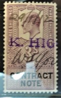 """GB Edward VII Revenue Contract Note 3s Signed And Dated 29 January 1912 Stamped """"K. HIG""""  JandRStamps - 1902-1951 (Kings)"""