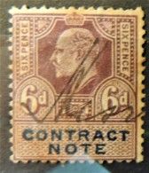 GB Edward VII Revenue Contract Note 6d Signed  JandRStamps - 1902-1951 (Kings)