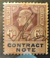 GB Edward VII Revenue Contract Note 6d Signed  JandRStamps - Oblitérés