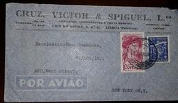 O) 1948 PORTUGAL, VASCO DE GAMA SCT 645 50c-PORTUGUESE NAVIGATORS, ASTROLABE, AIRMAIL. CRUZ VICTOR AND SPIGUEL, TO USA - 1910-... Republic