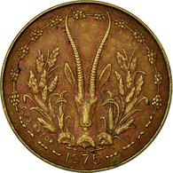 Monnaie, West African States, 5 Francs, 1975, TB+, Aluminum-Nickel-Bronze, KM:2a - Ivory Coast