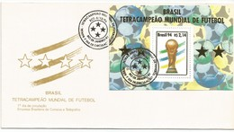 BRAZIL 1994: FDC - Brazil - Four Times Champion Of The FIFA World Cup. Soccer, Football, Four Stars. - Wereldkampioenschap