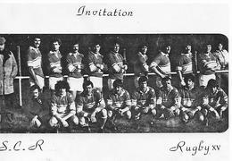 82)  Invitation  S.C.R.  Rugby XV  - Soirée Champagne 27 Fevrier 1981 Formation Popol Francazal - Frankreich