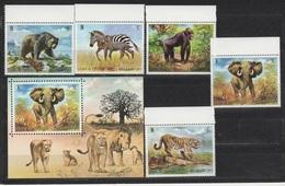 Umm Al-Qaiwain 1972 Umm Al-Kaiwain Mi 478-482 + Block 34 Wild Animals / Tiere Der Freien Wildbahn ** / MNH - Timbres
