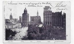 (RECTO / VERSO) NEW YORK EN 1902 - CITY HALL - PORTTER BUILDINGS - PLI ANGLE HAUT A GAUCHE - CPA PRECURSEUR - New York City