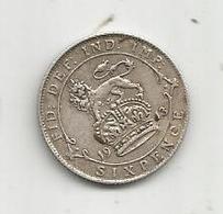 Monnaie, Grande Bretagne , Six Pence , 1913 , GEORGIUS V , DEI GRA : BRITT : OMN : REX ,  2 Scans - 1902-1971 : Post-Victorian Coins
