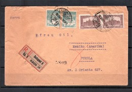 Hungary 1922 Registered Cover Inflation Rate From Budapest To Mexico 1922 AGO 12 24k - Hongrie