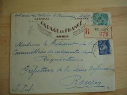 Recommande Brunoy Timbre 4 F Bleu Petain Lettre Recommandee - Marcophilie (Lettres)
