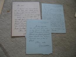 Lot 3 Lettre Autographe Mevisto Cafe Concert Chanteur Pantomine   Adresse Au Direction Theatre Des Varietes - Autographes