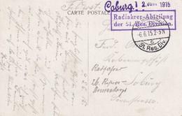 Post Card Bruges, Feldpost, 1915, Radfahrer Abteilung Nach Coburg - Besetzungen 1914-18