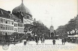 Liege - Place Du Marché Et La Bourse - Fontaine Du Perron - Carte La Belgique Historique, Non Circulée - Liege