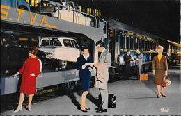Chemins De Fer Français: Train Auto-couchette, DS 19, Ami 6 - Carte S.N.C.F. Non Circulée - Trains