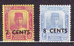 MALAYSIA TRENGGANU 1941 2c On 5c & 8c On 10c SG59/60 MH - Trengganu