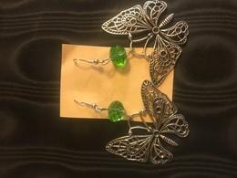 Coppia Di Orecchini Di Bigiotteria Vintage A Forma Di Farfalla  Pendenti - Orecchini