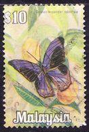 MALAYSIA 1970 $10 Butterfly SG71 Fine Used - Malaysia (1964-...)