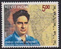 India MNH 2008, Damodar Kosambi, Statistician, Mathematics, Indologist, Map, Scale, Buddhist Scholar, Buddhism - Inde