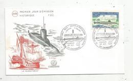 Premier Jour D'émission ,FDC , Bateau , Sous Marin LE REDOUTABLE ,1969 , CHERBOURG , H. Simoni - FDC