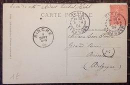 CMCA. 30. Double Oblitérations Paris Étranger 1904 Vers Binche Belgique Sur CP Paris - Marcophilie (Lettres)