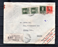 ARGENTINA 1934 Registered Waxed Censored Cover From Buenos Aires To Mexico Franked 35c - Argentina